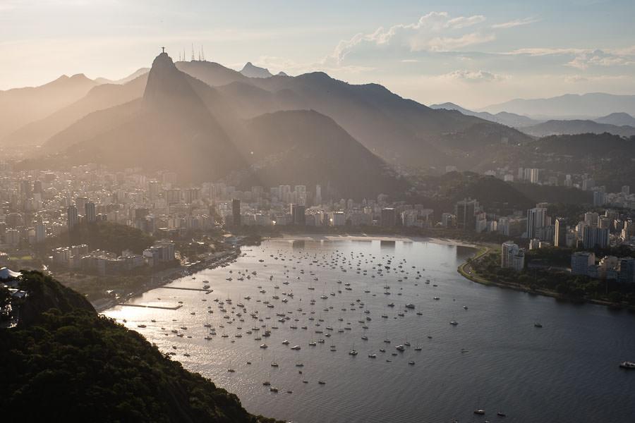 view from pao de azucar during sunset in rio de janeiro, brazil