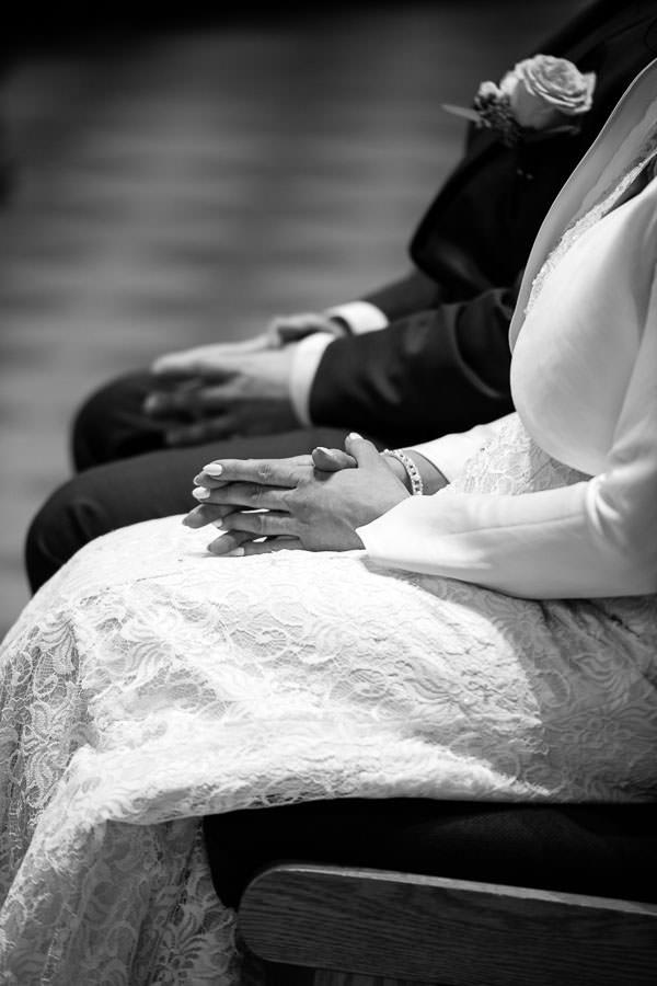 bride and groom at st stanislaus kostka church wedding