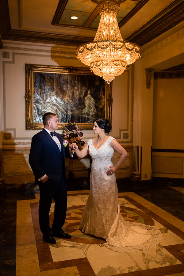 bride and groom wedding session at terrace on the park wedding reception venue in new york city