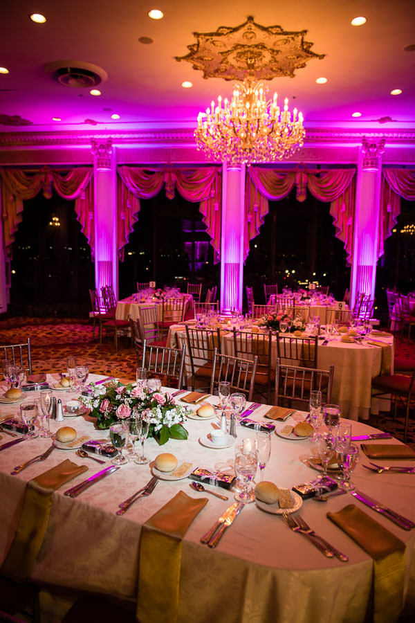 floral decor set up at terrace on the park wedding reception venue in new york city