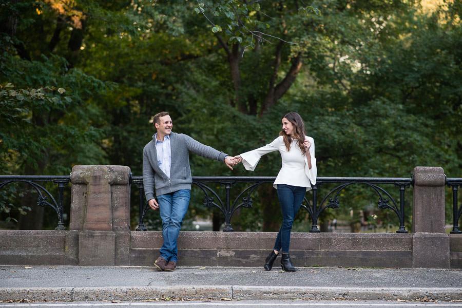 autumn central park engagement session by bridge