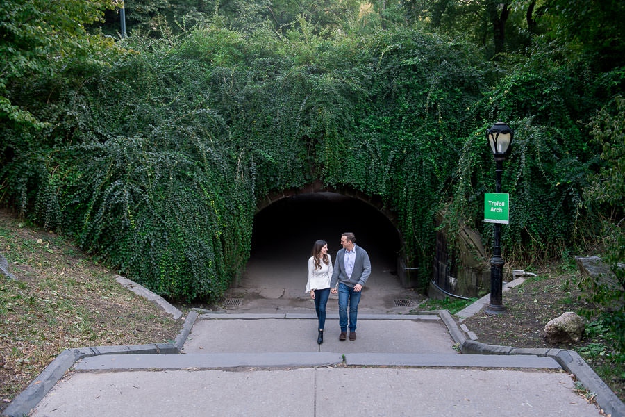 autumn central park engagement session by archway