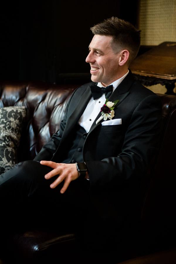 groom prep at lobby of hyatt union square hotel wedding