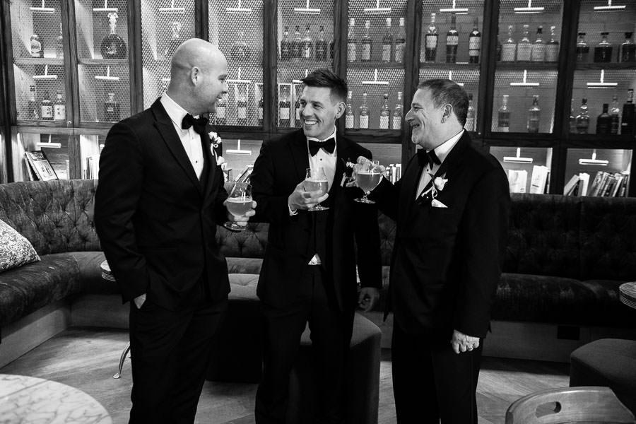 groom and groomsmen at hyatt union square hotel wedding