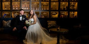 bride and groom at hyatt union square hotel wedding