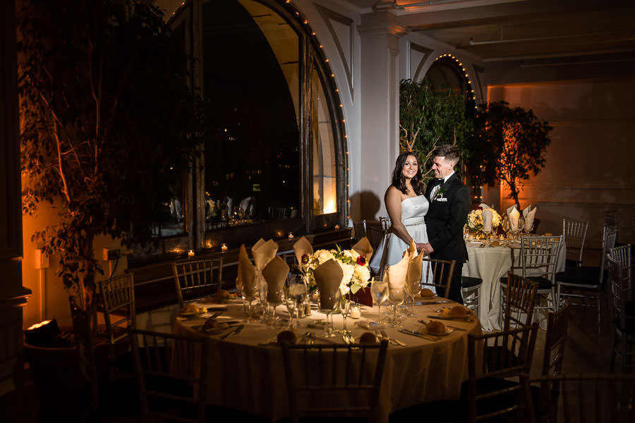 bride and groom reception room at manhattan penthouse wedding