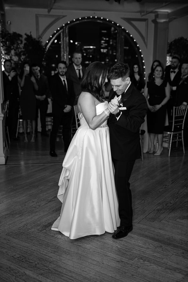 bride and groom first dance at manhattan penthouse wedding venue in nyc