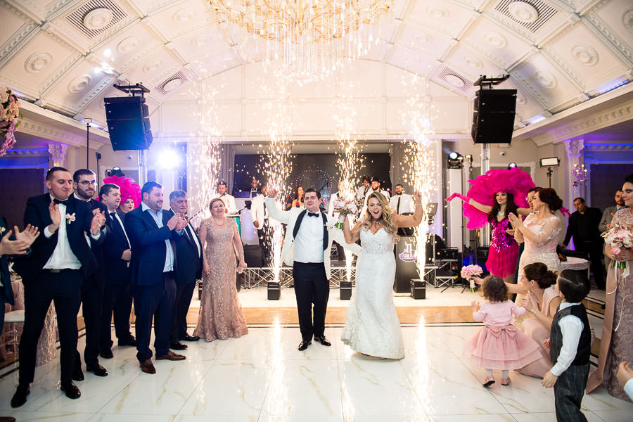 wedding first dance at metropolitan ballroom with dancing on the clouds dry ice and indoor fireworks by ti fusion band