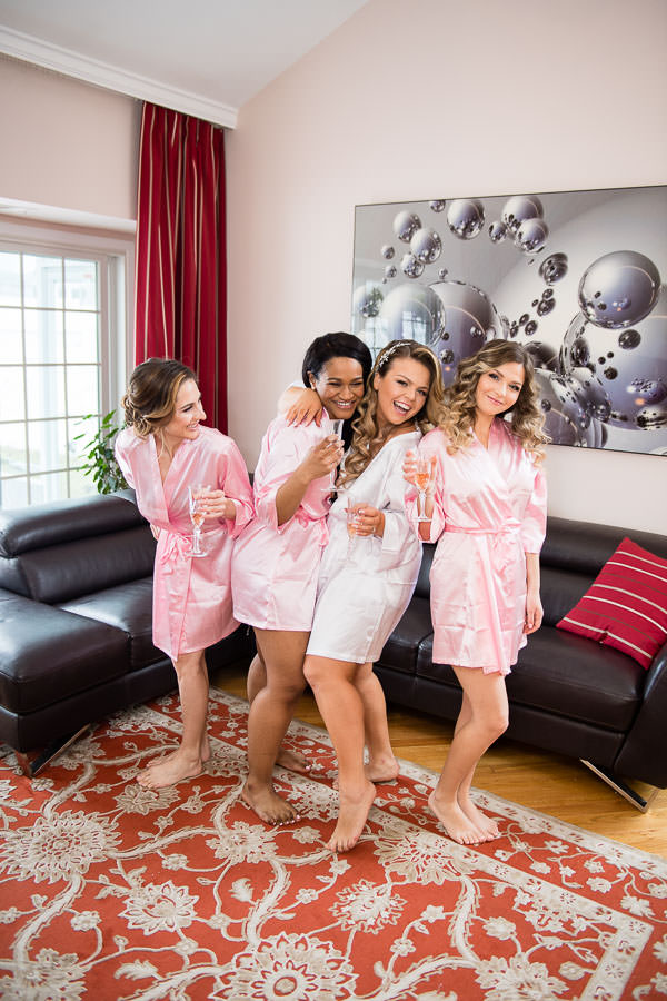 bride and bridesmaids portraits during getting ready