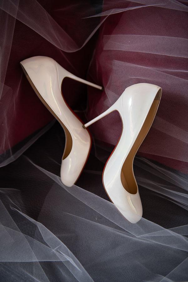 brides white louboutin heels