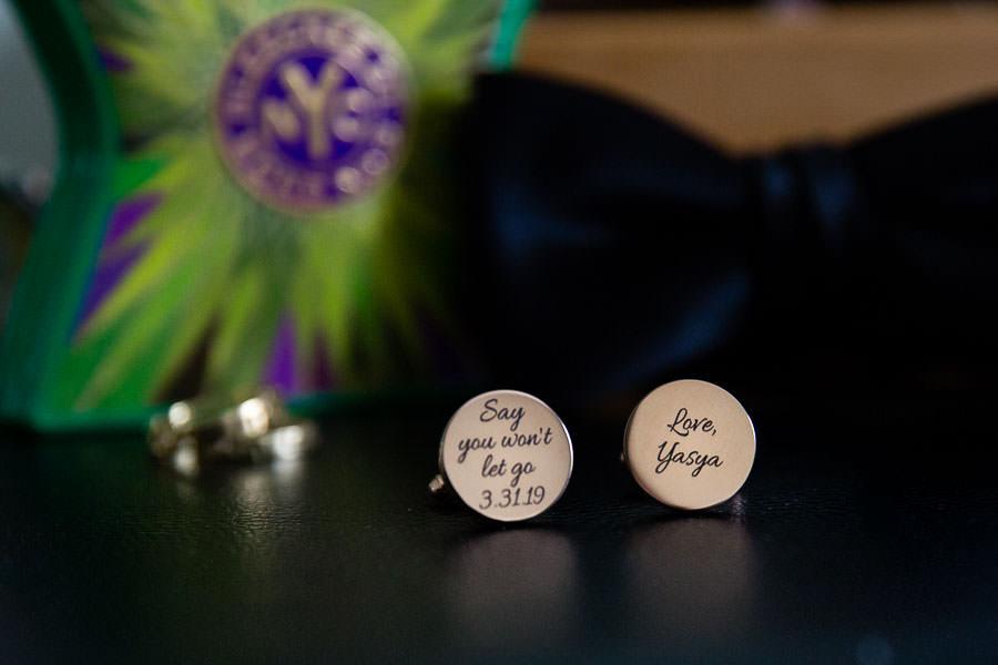 groom's custom engraved cuff links