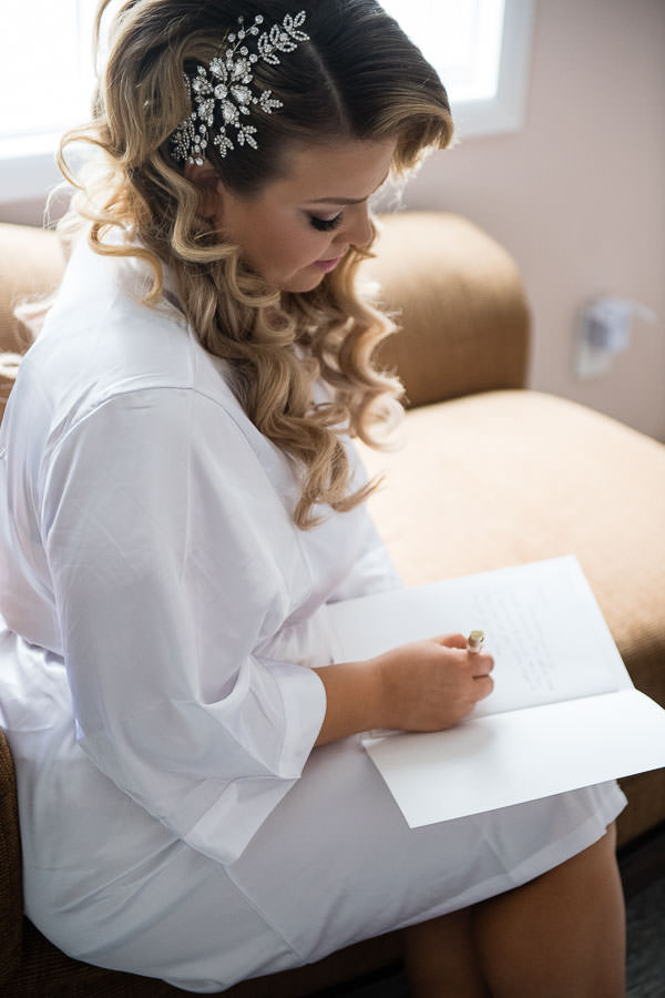 bride writing a letter to her husband