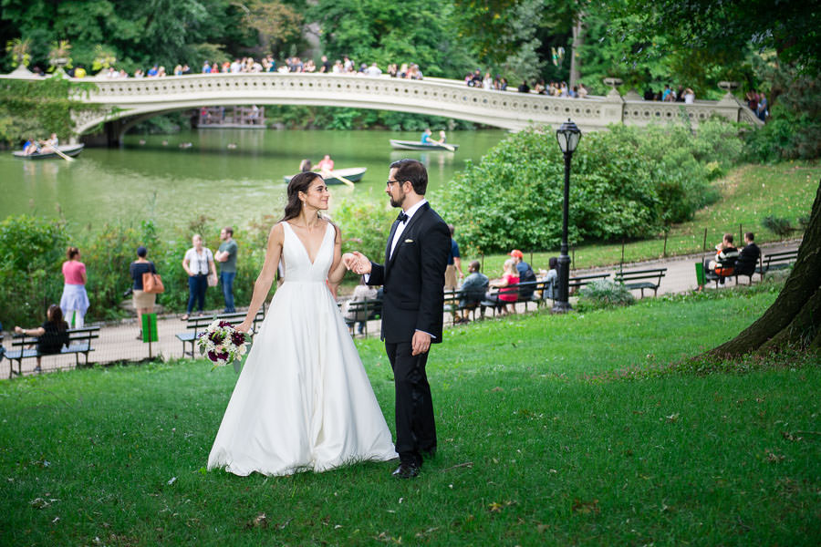 elegant wedding elopement at central park bow bridge in the summer time