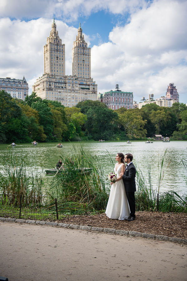 elegant wedding elopement at central park lake in the summer time