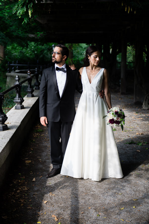 elegant wedding elopement at central park wagner cove in the summer time