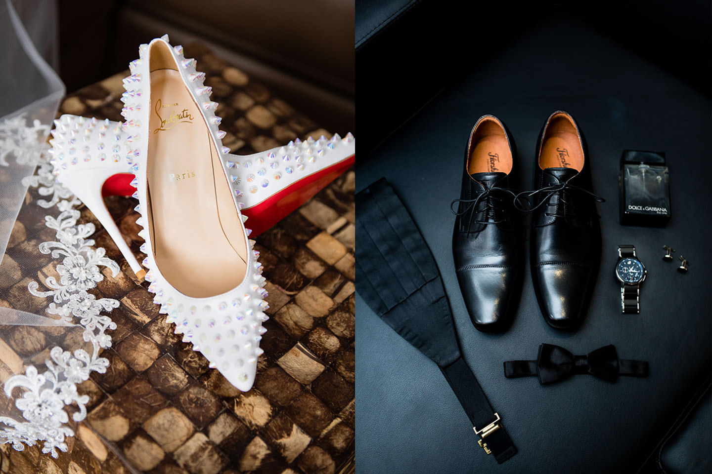 bride and groom details shoes louboutins