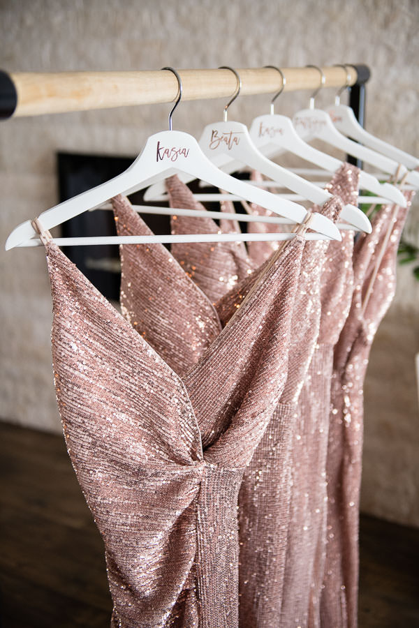 bridesmaid dresses on rack