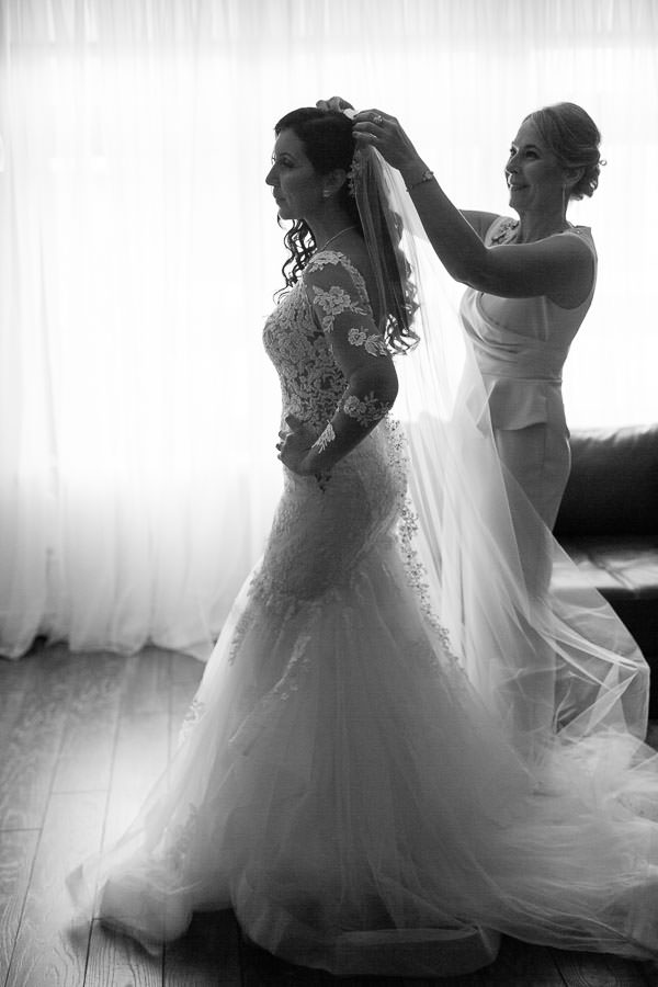 bride getting ready before their wedding ceremony