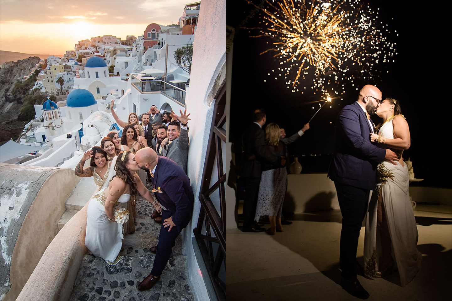 santorini fireworks wedding photography
