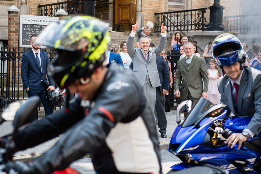 motorcycle burnouts at wedding in nyc