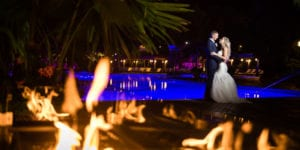 crest hollow country club wedding in long island with pool and flames