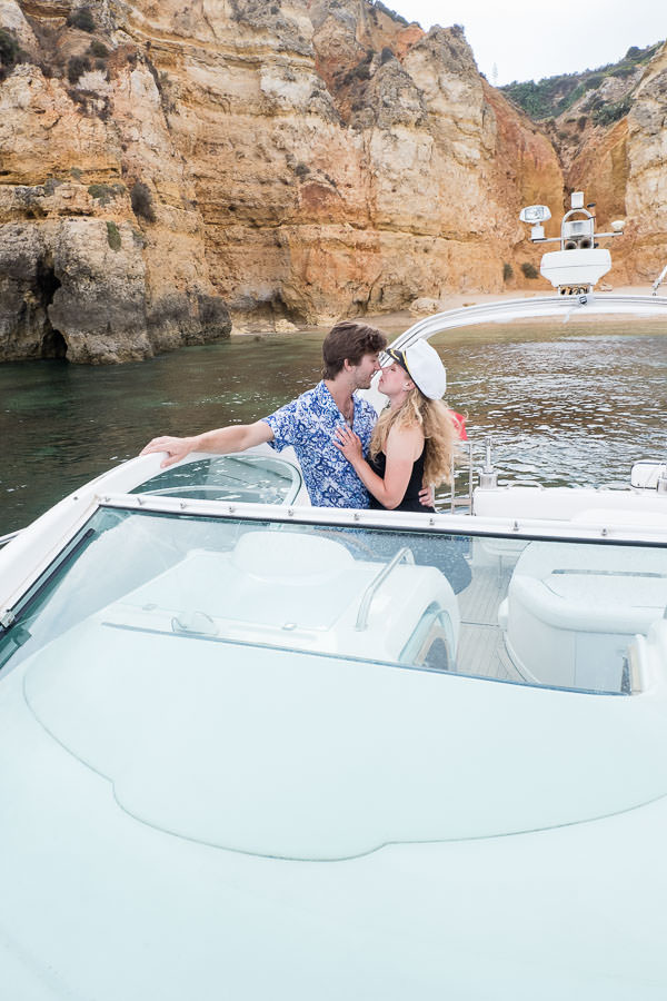 lagos, portugal engagement session on a boat at Ponta da Piedade