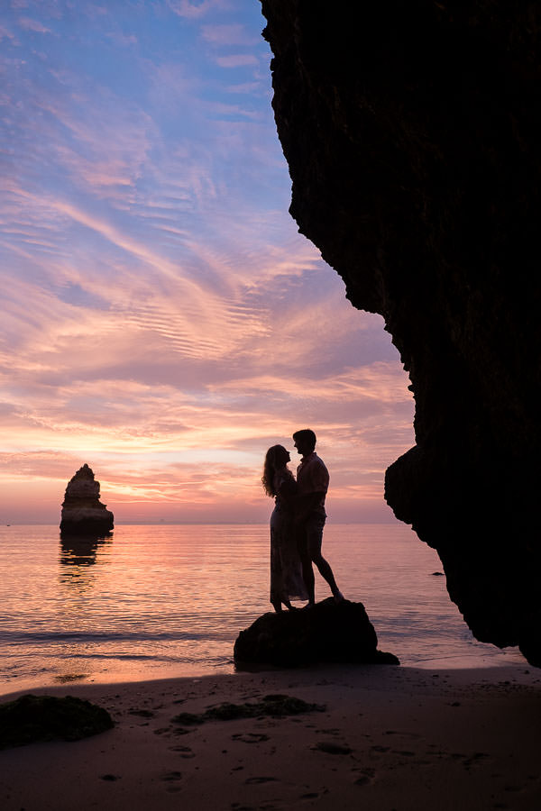 lagos, portugal engagement session at Praia do Camilo