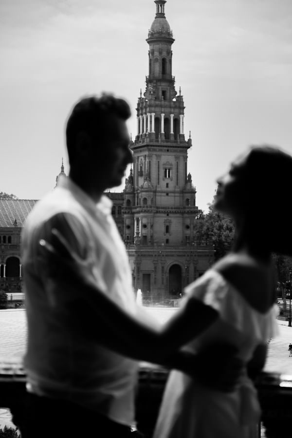 seville, spain engagement session at plaza de espana