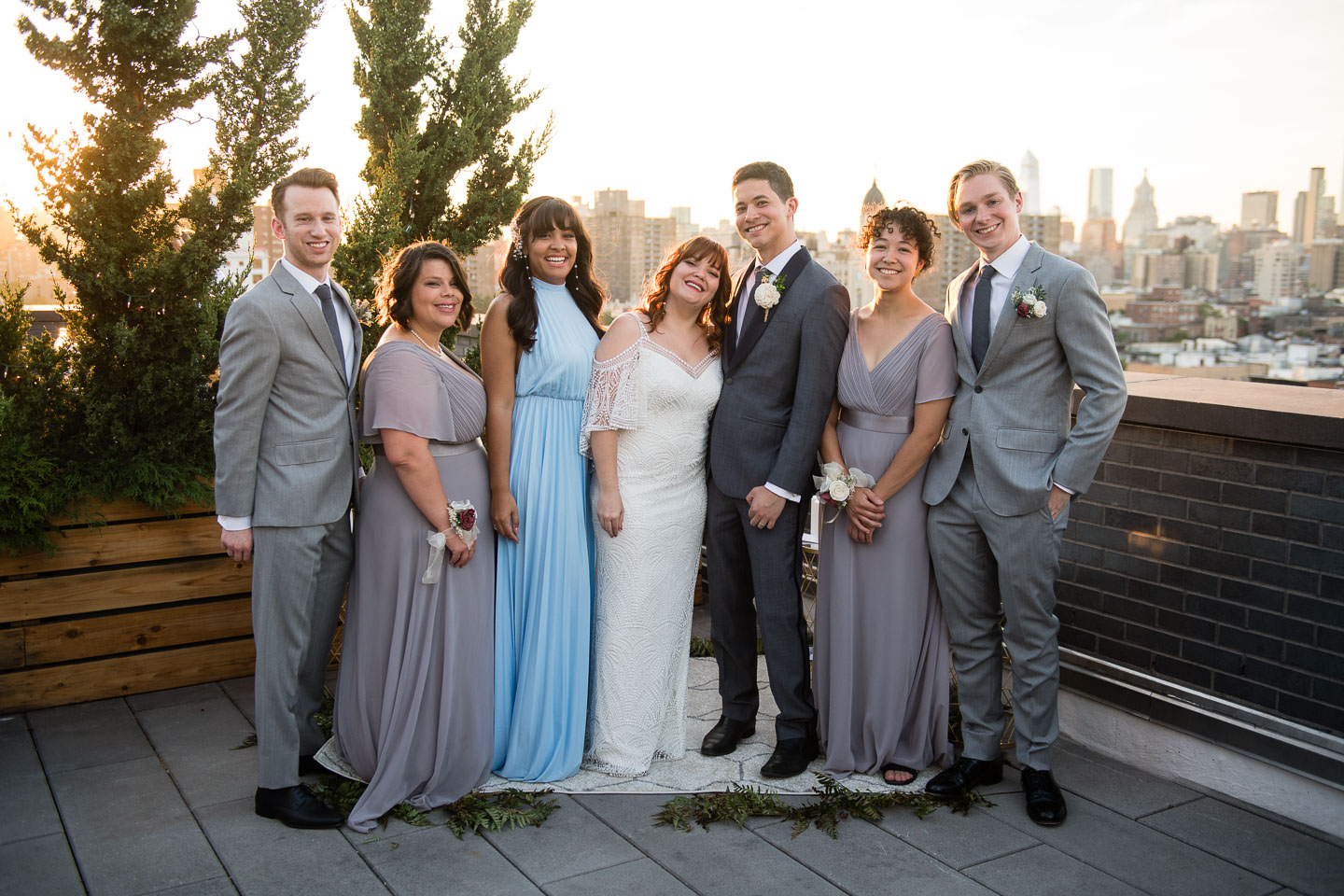 bridal party on new york city rooftop wedding