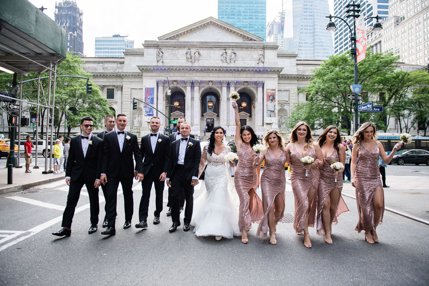 new york public library wedding bridal party walk on the street