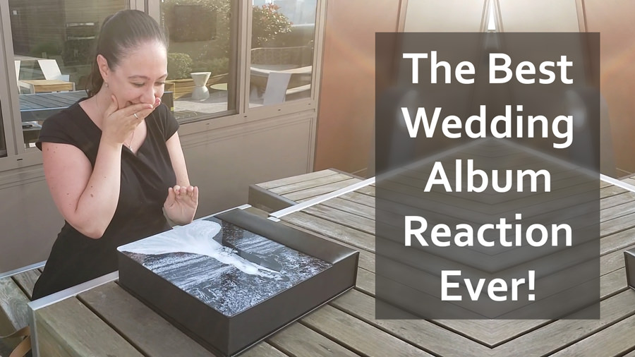 Elizabeth reacts on video to receiving her wedding album from olde mill inn in new jersey