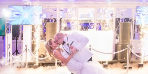 westmount country club wedding first dance with indoor sparklers